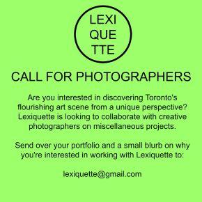 Toronto: Call forPhotographers!